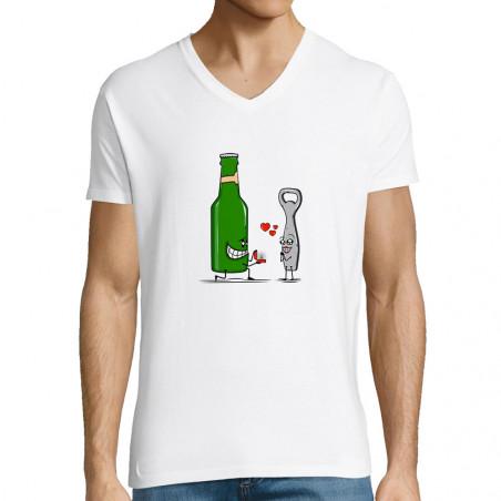 """T-shirt homme col V """"Beer..."""