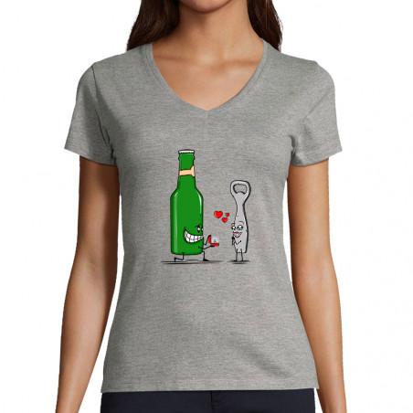 """T-shirt femme col V """"Beer..."""