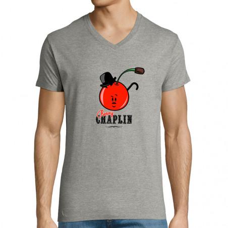 "T-shirt homme col V ""Cherry..."