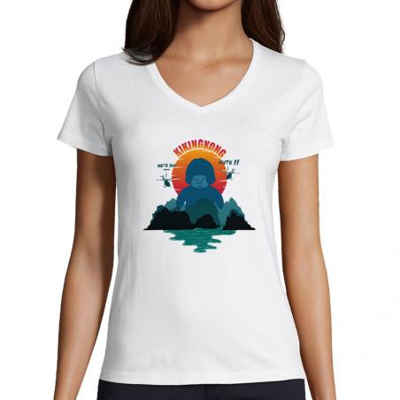 "T-shirt femme col V ""Kiking..."