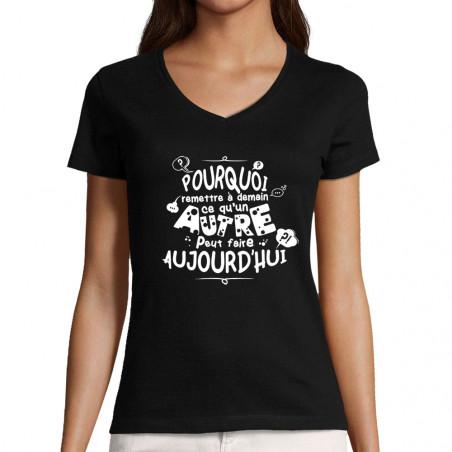 """T-shirt femme col V """"Ce..."""