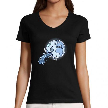 "T-shirt femme col V ""Sick..."