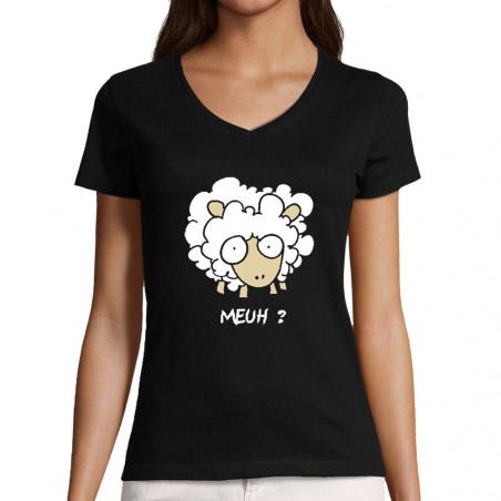 """T-shirt femme col V """"Meuh"""""""