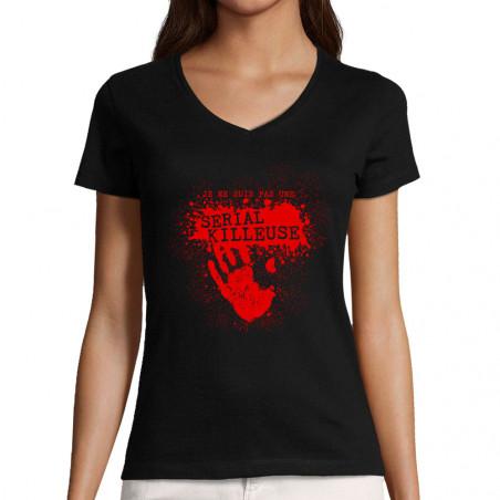 """T-shirt femme col V """"Pas..."""