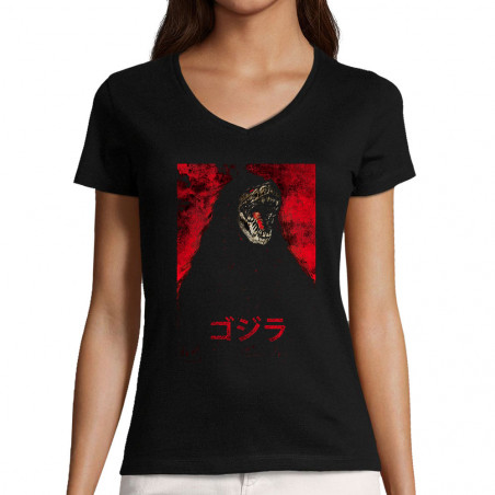 "T-shirt femme col V ""Gojira"""