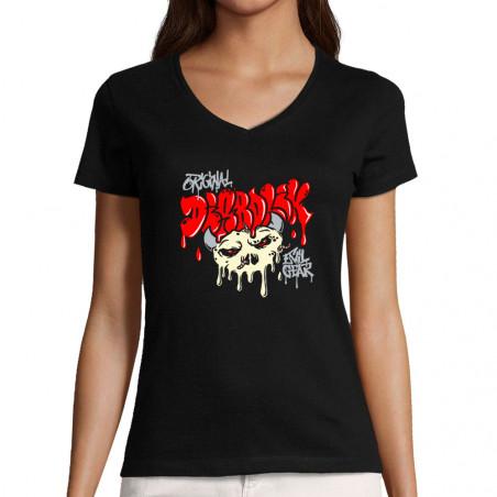 "T-shirt femme col V ""Worms..."