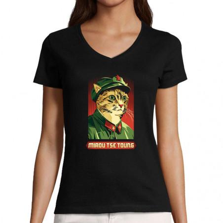 "T-shirt femme col V ""Miaou..."