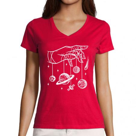 """T-shirt femme col V """"Cosmos..."""