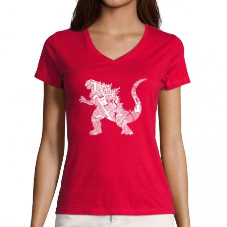 """T-shirt femme col V """"Kaiju..."""