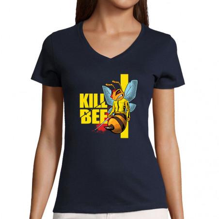 "T-shirt femme col V ""Kill Bee"""