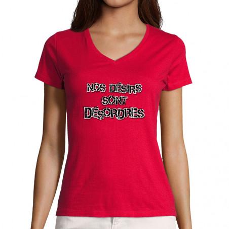 """T-shirt femme col V """"Nos..."""