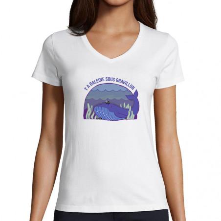 "T-shirt femme col V ""Y a..."