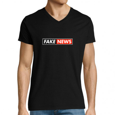 "T-shirt homme col V ""Fake..."
