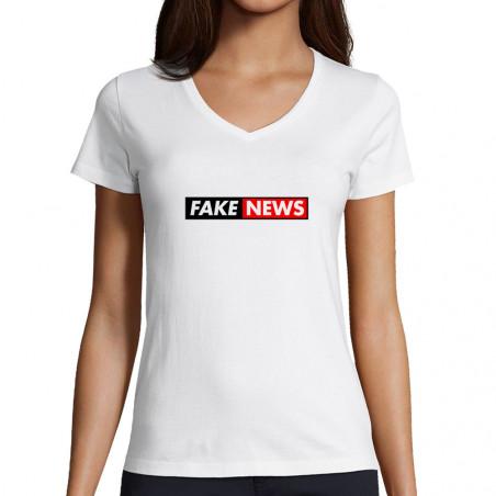 "T-shirt femme col V ""Fake..."