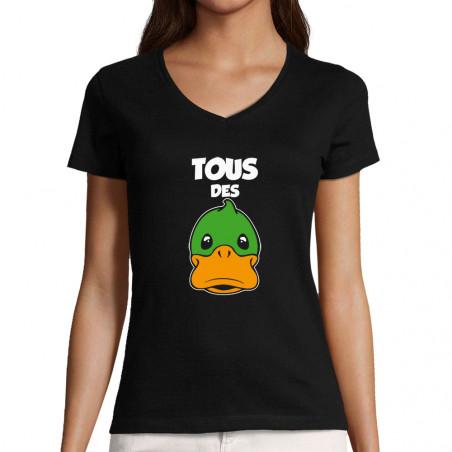 "T-shirt femme col V ""Tous..."