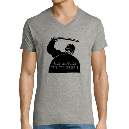 "T-shirt homme col V ""Aide..."