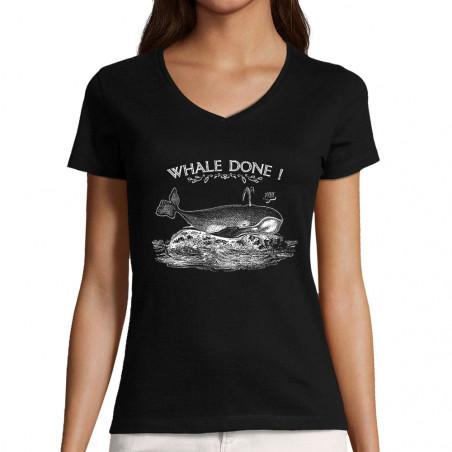 "T-shirt femme col V ""Whale..."