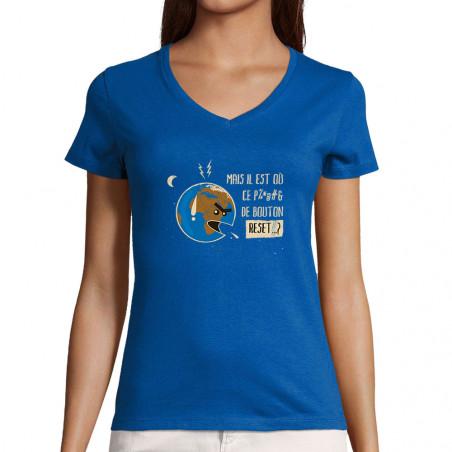 """T-shirt femme col V """"Bouton..."""