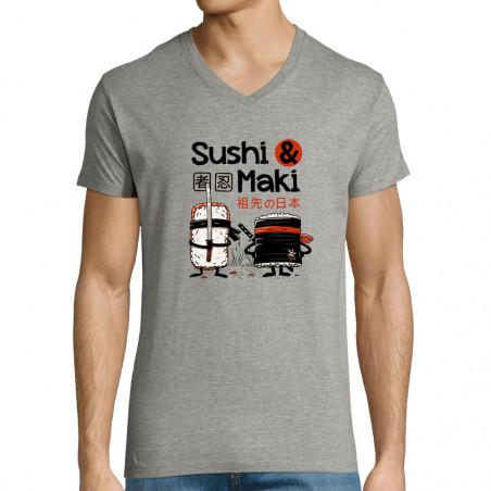 """T-shirt homme col V """"Sushi..."""