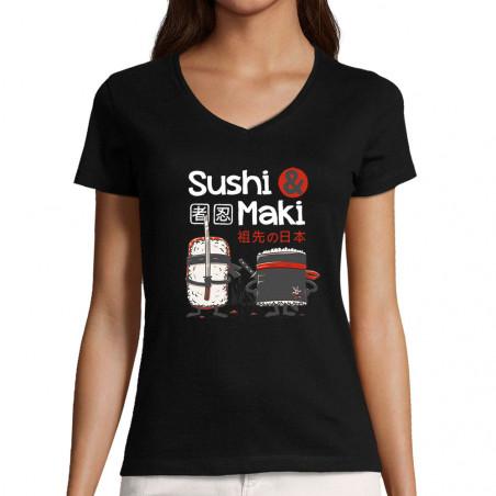"""T-shirt femme col V """"Sushi..."""