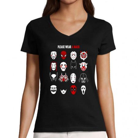 "T-shirt femme col V ""Please..."
