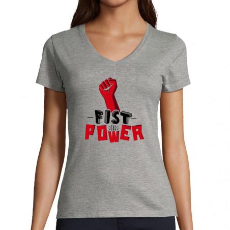 "T-shirt femme col V ""Fist..."