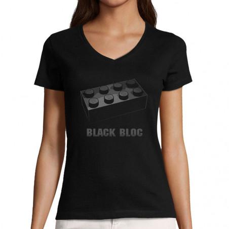 """T-shirt femme col V """"Black..."""