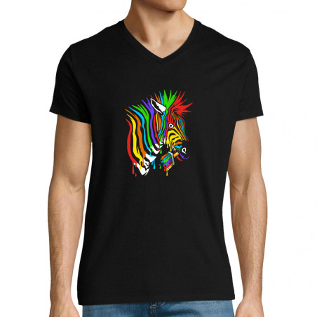 "T-shirt homme col V ""Zèbre..."