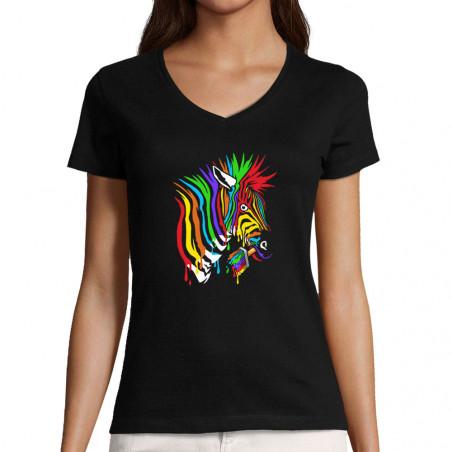 "T-shirt femme col V ""Zèbre..."