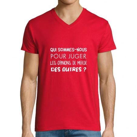 "T-shirt homme col V ""Qui..."
