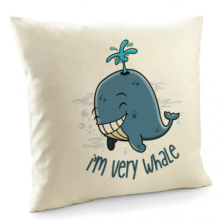"Coussin ""I'm Very Whale"""