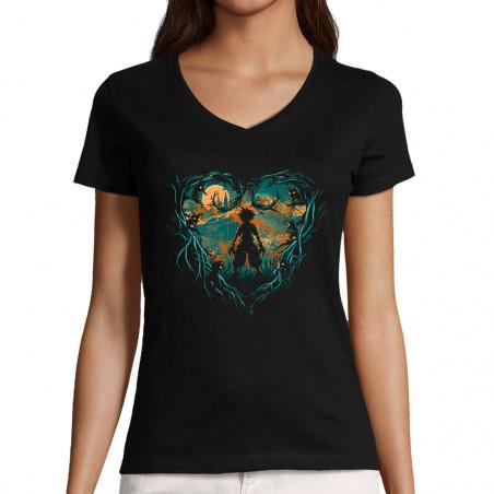 "T-shirt femme col V ""Kingdom"""