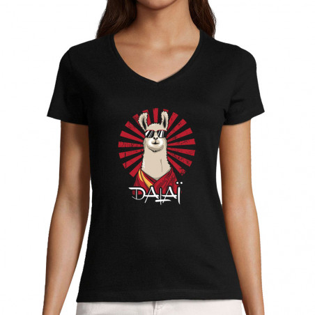 "T-shirt femme col V ""Dalaï..."