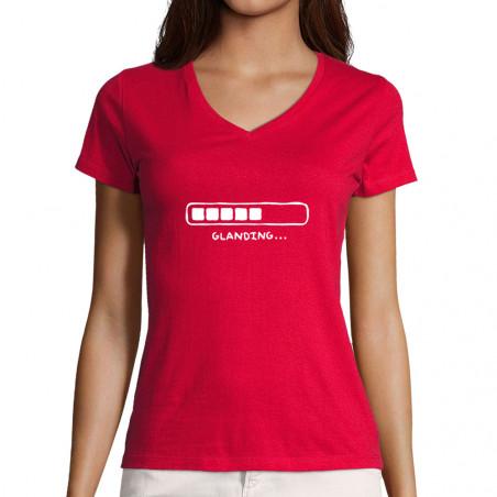 "T-shirt femme col V ""Glanding"""