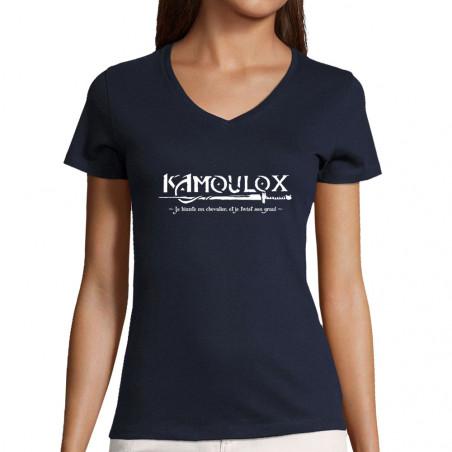 """T-shirt femme col V """"Kamoulox"""""""