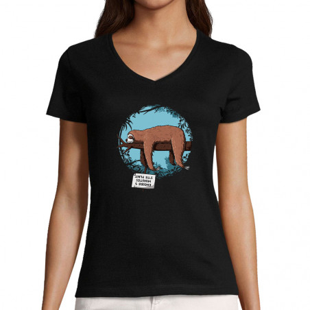"T-shirt femme col V ""Encore..."