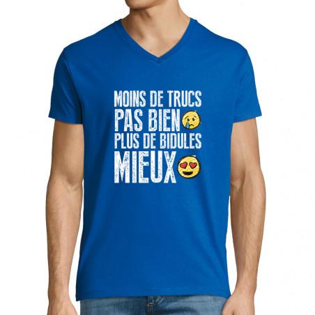 """T-shirt homme col V """"Moins..."""