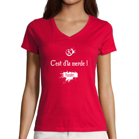"T-shirt femme col V ""C'est..."