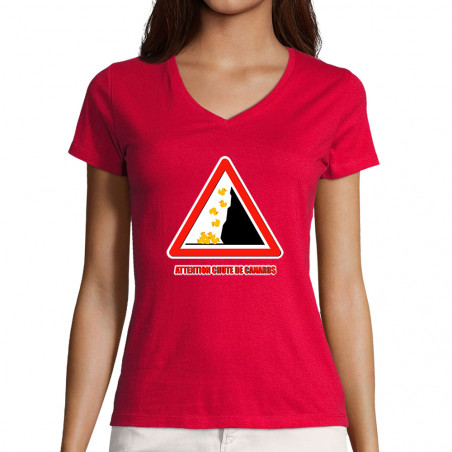 "T-shirt femme col V ""Chute..."