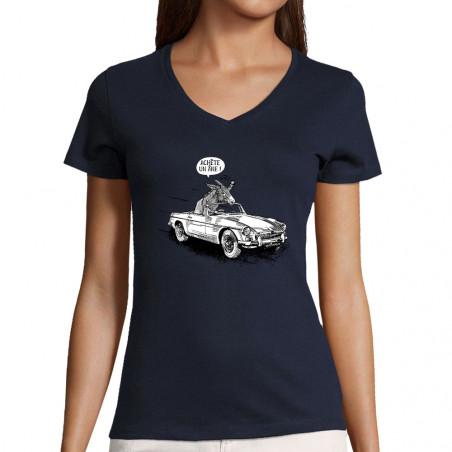 """T-shirt femme col V """"Achète..."""