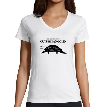 "T-shirt femme col V ""Pangolin"""