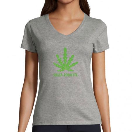 "T-shirt femme col V ""Rasta..."