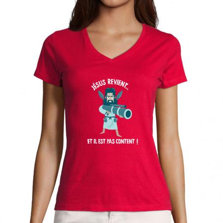 """T-shirt femme col V """"Jésus..."""