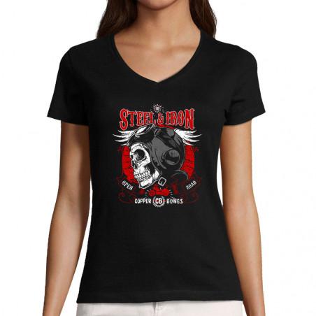 """T-shirt femme col V """"Steel..."""