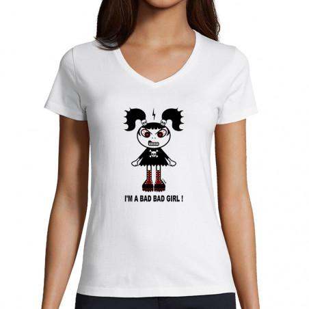 "T-shirt femme col V ""Bad girl"""
