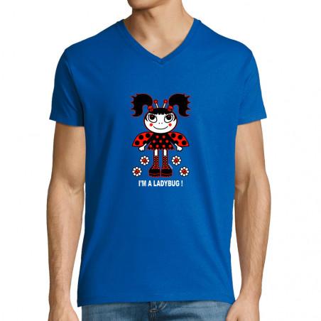 """T-shirt homme col V """"Ladybug"""""""