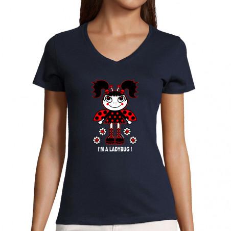 """T-shirt femme col V """"Ladybug"""""""