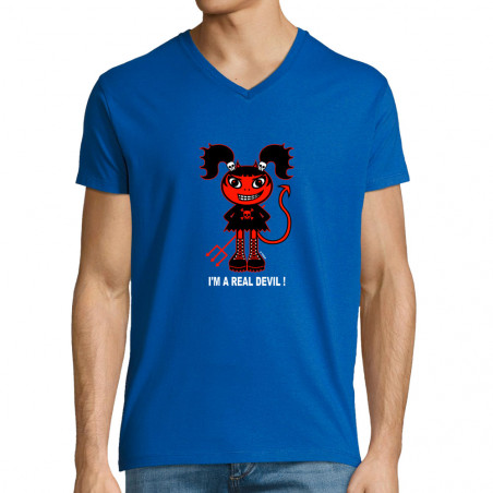 "T-shirt homme col V ""Real..."