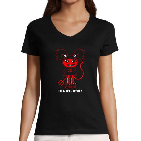 """T-shirt femme col V """"Real..."""
