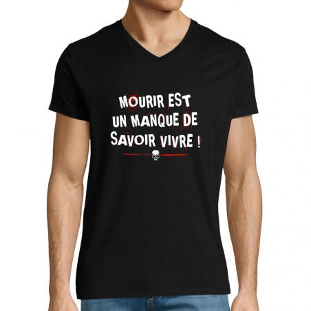 "T-shirt homme col V ""Mourir"""